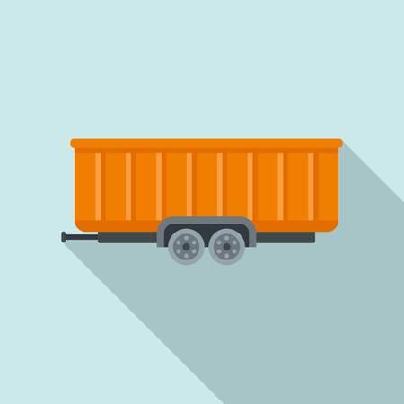 Farm wheat trailer icon, flat style
