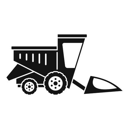 Field harvester icon, simple style