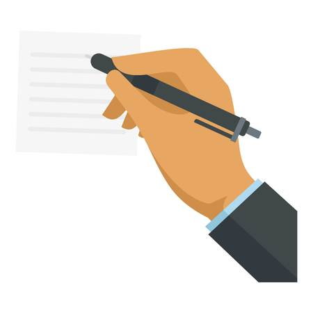 Businessman hand writing icon, flat style