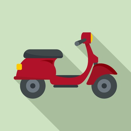 Red scooter delivery icon, flat style