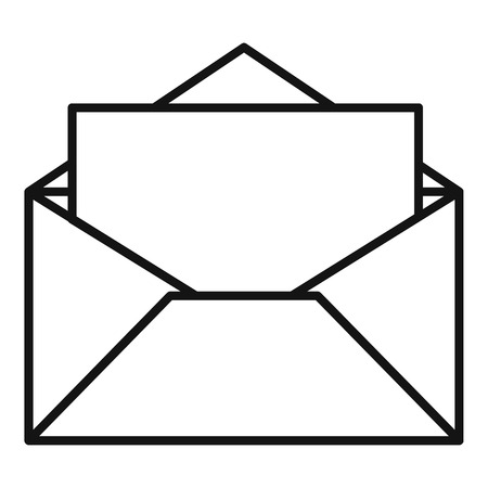 Open envelope icon, outline style Foto de archivo