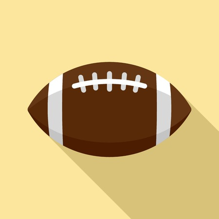 American football leather ball icon, flat style Stock Photo
