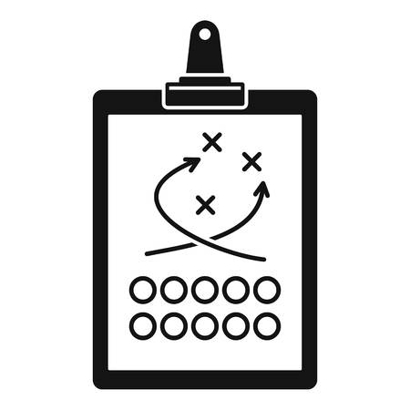 American football tactical clipboard icon, simple style