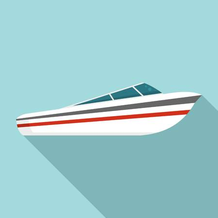 Speed boat icon, flat style