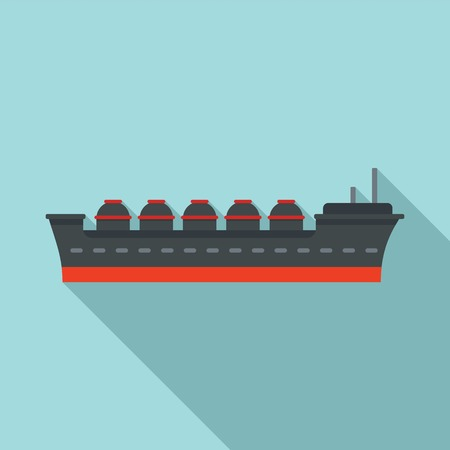 Oil tanker ship icon, flat style