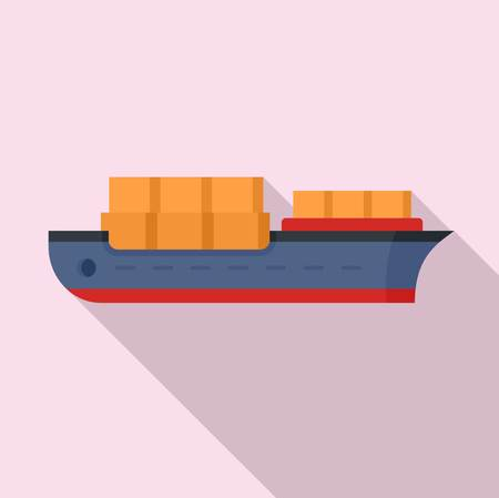 Industrial ship icon, flat style Stock Photo