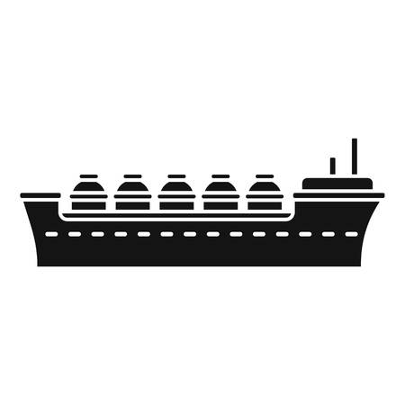 Oil tanker ship icon, simple style Stock Photo
