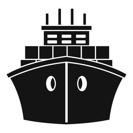 Containerschiff-Symbol vorne, einfacher Stil
