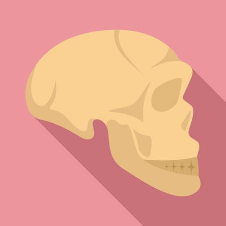 Stone age man skull icon, flat style Stock Photo