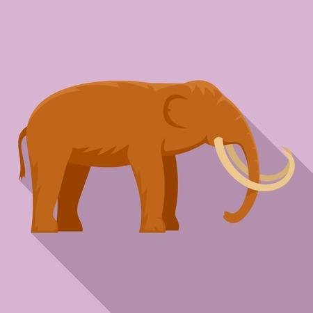 Stone age elephant icon, flat style