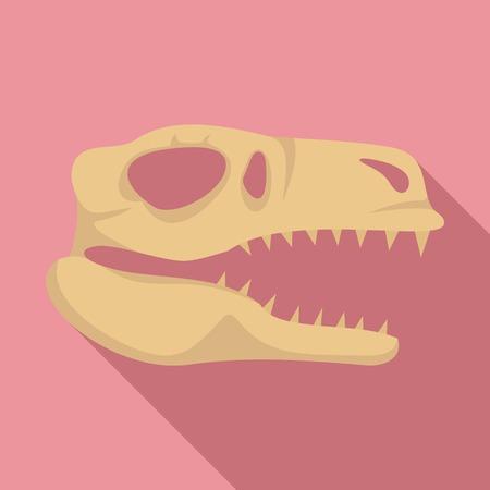 Dino skull head icon, flat style Stock Photo