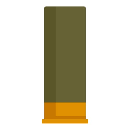 Shotgun green cartridge icon, flat style
