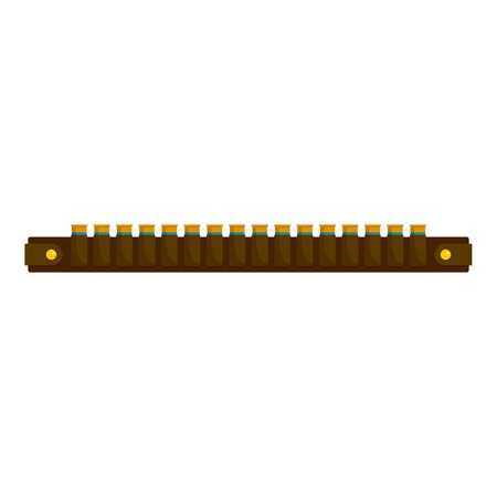 Hunting cartridge belt icon, flat style