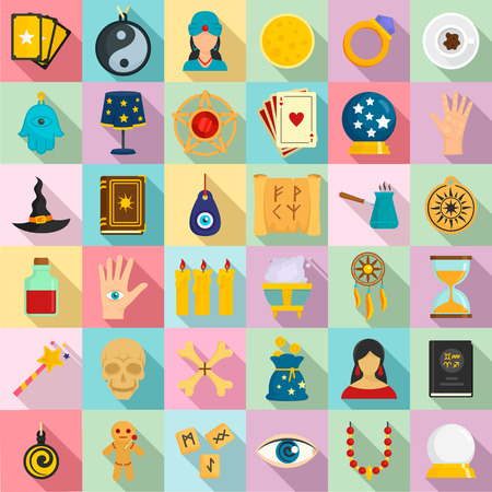 Magic fortune teller icons set, flat style