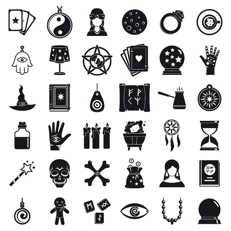Fortune teller icons set, simple style Stock Photo