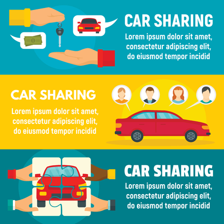 Car sharing banner set, flat style Banco de Imagens