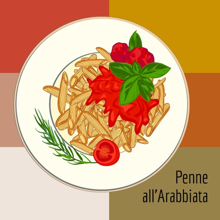 Penne pasta concept background, cartoon style