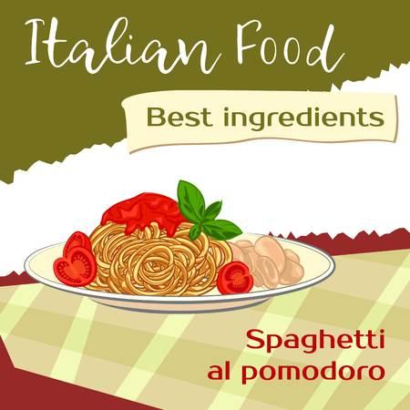Italian spaghetti concept background, cartoon style
