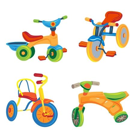 Tricycle icons set, cartoon style Stockfoto