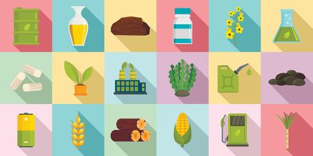 Jeu d'icônes de biocarburant, style plat Banque d'images