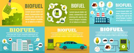 Bio fuel station banner set, flat style Stock Photo