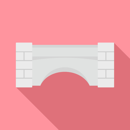 Old stone bridge icon, flat style 스톡 콘텐츠