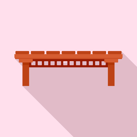 Wood river bridge icon, flat style