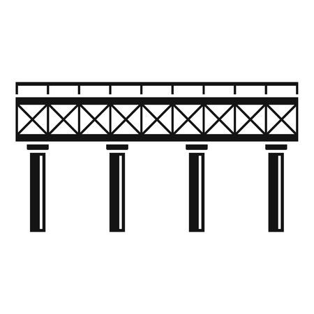Railroad bridge icon, simple style