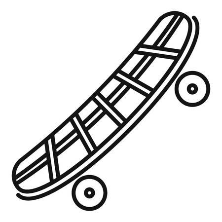 Black skateboard icon, outline style