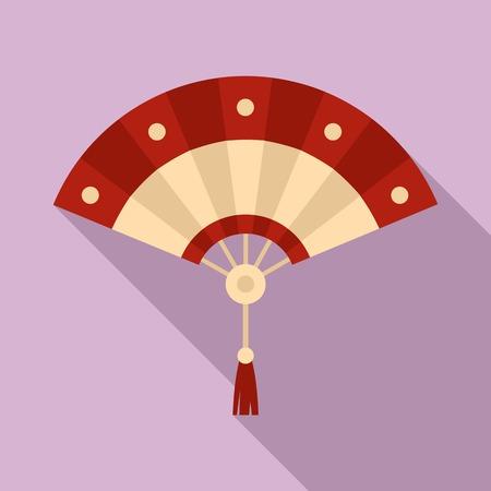 Asian hand fan icon, flat style Stok Fotoğraf
