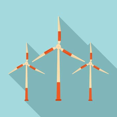 Modern wind turbine icon, flat style Reklamní fotografie