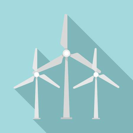 Wind turbine eco station icon, flat style Reklamní fotografie