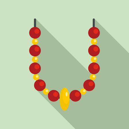 Magic fortune necklace icon. Flat illustration of magic fortune necklace icon for web design