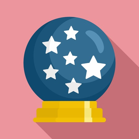 Magic star ball glass icon. Flat illustration of magic star ball glass icon for web design