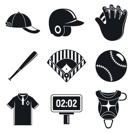 Baseball equipment icons set. Simple set of baseball equipment icons for web design on white background Stock Photo