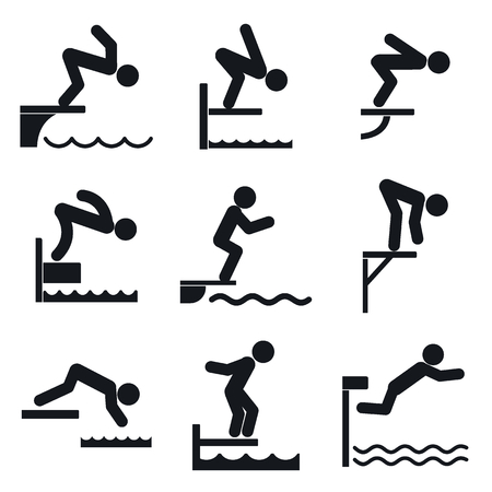Diving board icons set. Simple set of diving board icons for web design on white background