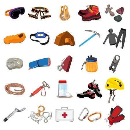 Mountaineering equipment icons set. Cartoon set of mountaineering equipment icons for web design Reklamní fotografie