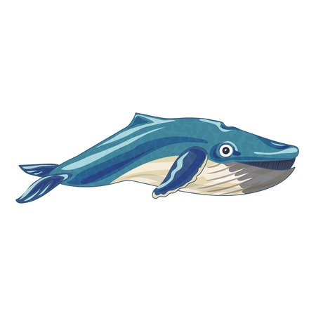 Marine whale icon. Cartoon of marine whale icon for web design isolated on white background Banco de Imagens