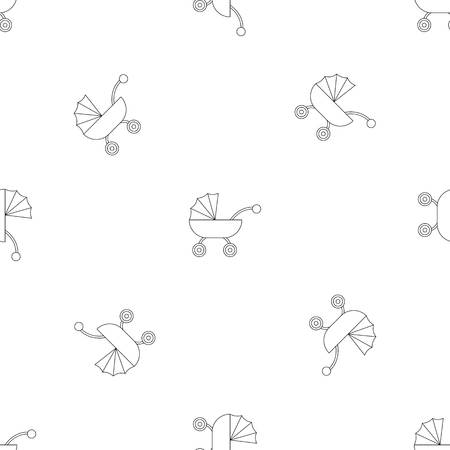 Baby carriage pattern seamless repeat geometric for any web design Stock Photo
