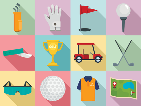 Golf icons set. Flat set of golf vector icons for web design