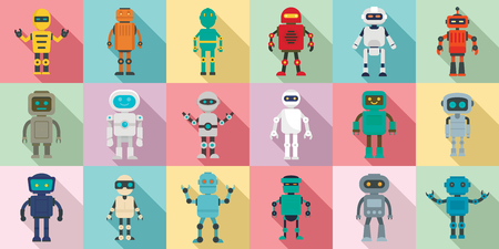 Humanoid icons set. Flat set of humanoid vector icons for web design