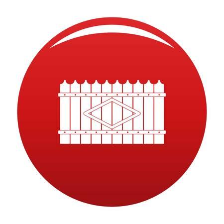 Wooden peak fence icon vector red Vecteurs