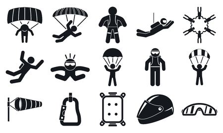Skydivers icons set, simple style