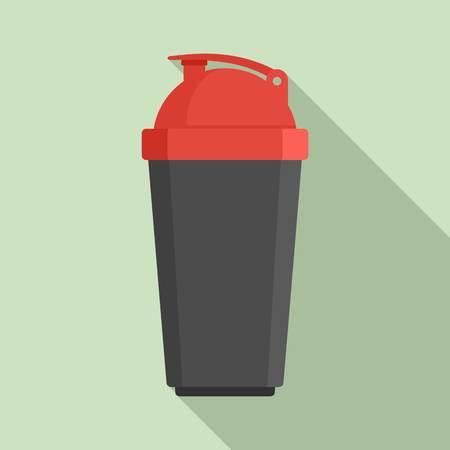 Plastic shaker bottle icon, flat style Ilustração