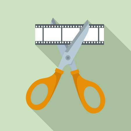 Scissors cut film icon, flat style