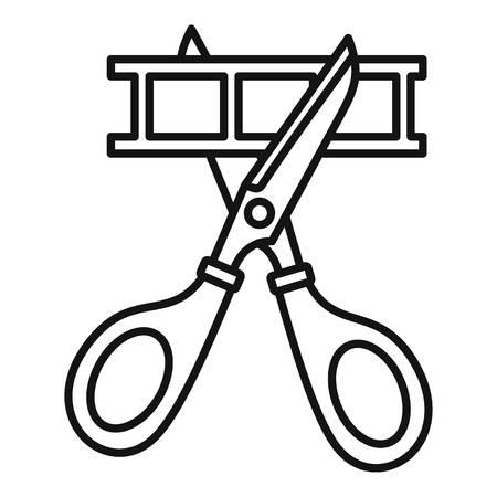 Scissors cut film icon, outline style Illustration