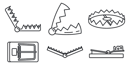 Bear trap icons set, outline style Stock Vector - 123338501