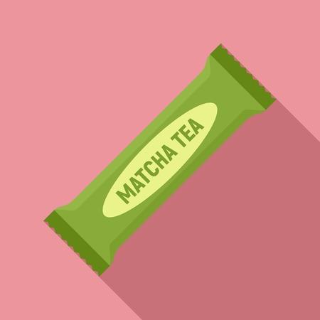 Matcha tea bar icon, flat style