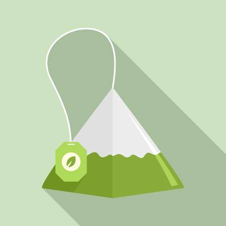 Matcha tea pyramid icon, flat style Illustration