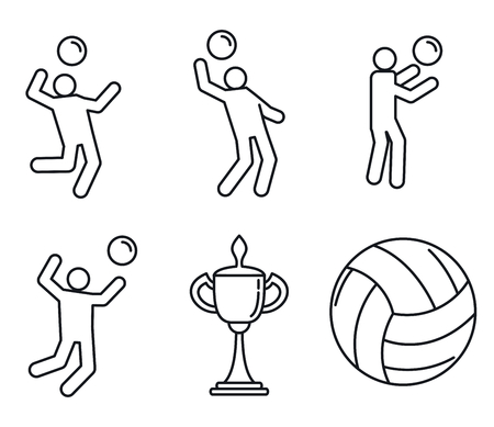 Volleyball sport icons set, outline style 스톡 콘텐츠 - 123338706